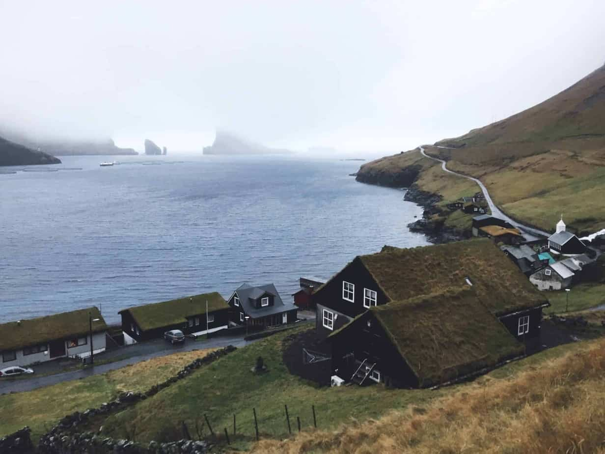 Grassy roofed houses in Faroe Islands