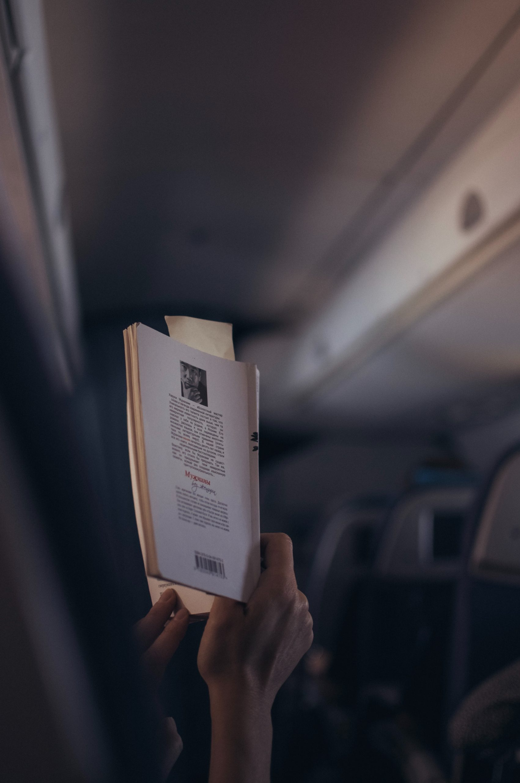 Reading a book on the plane