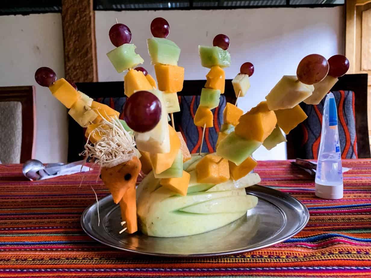 Breakfast Fruit Display by Alpaca Expeditions