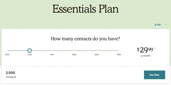 MailChimp Essentials Plan Pricing
