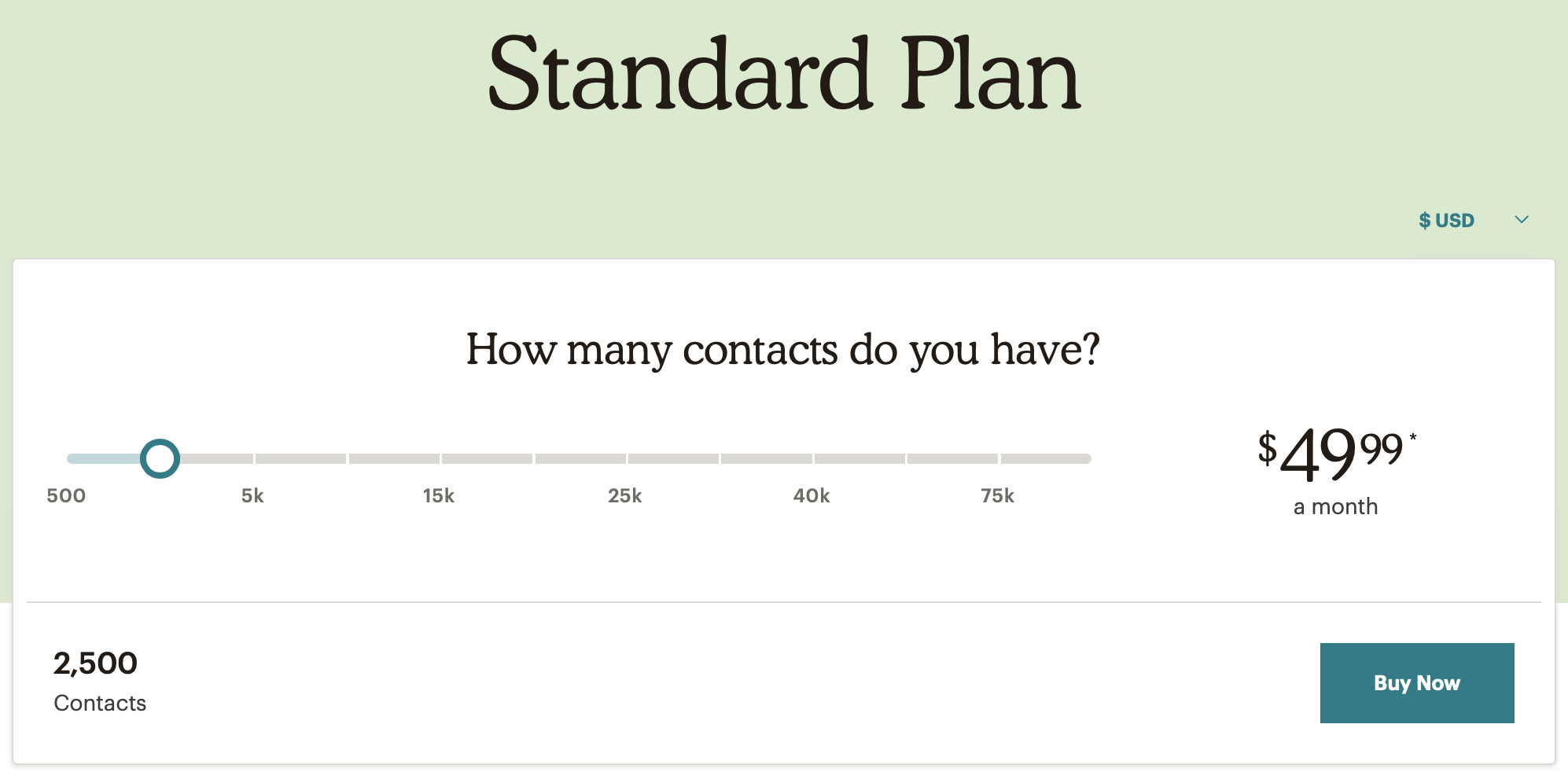 MailChimp Standard Plan Pricing