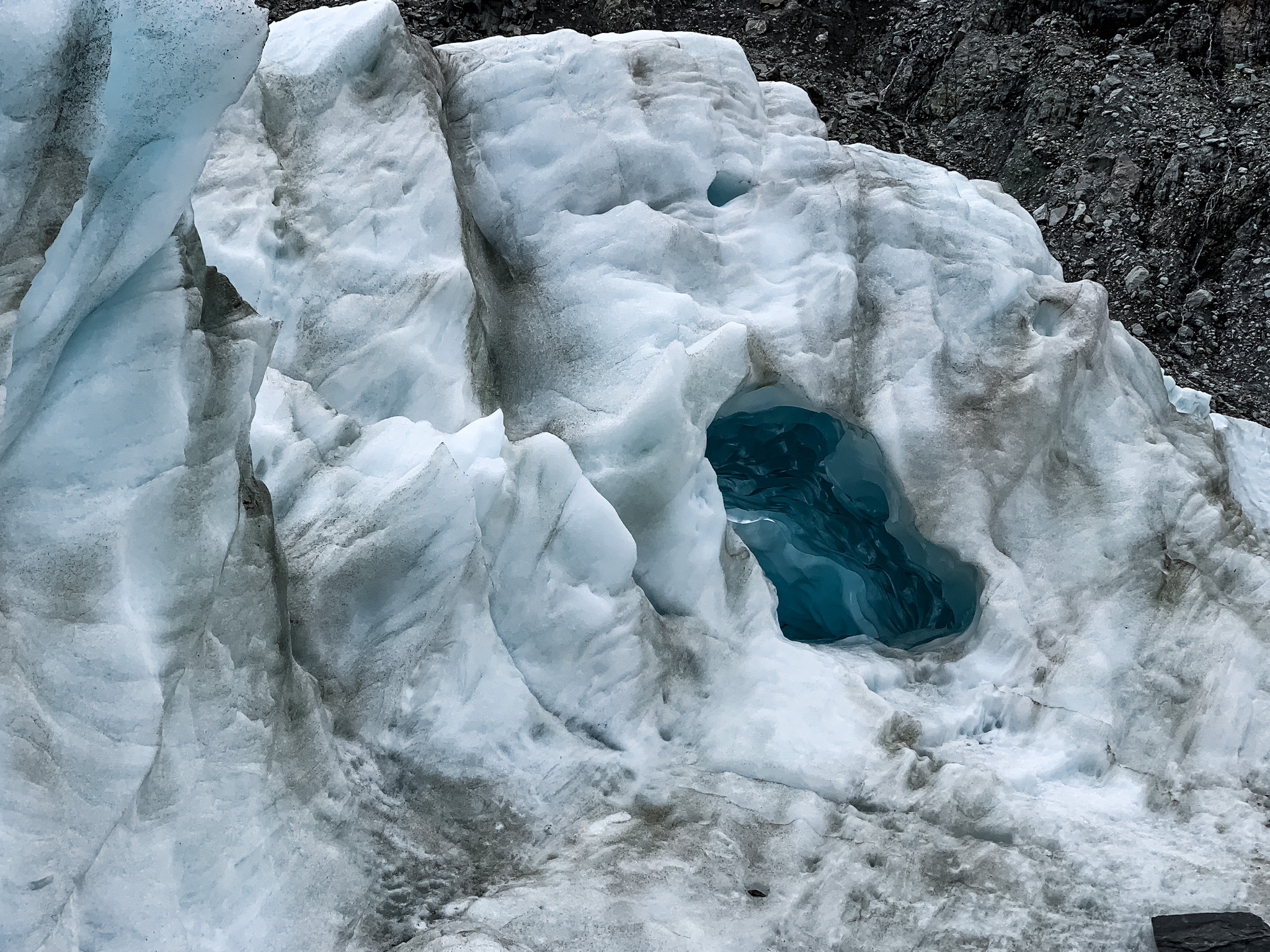 Blue hole on Fox Glacier