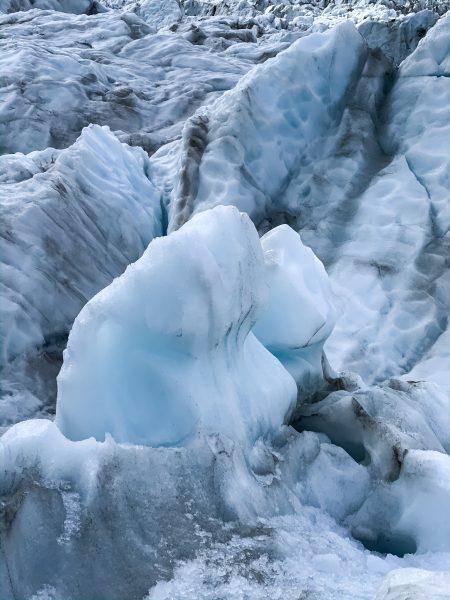 Natural ice sculpture on Fox Glacier