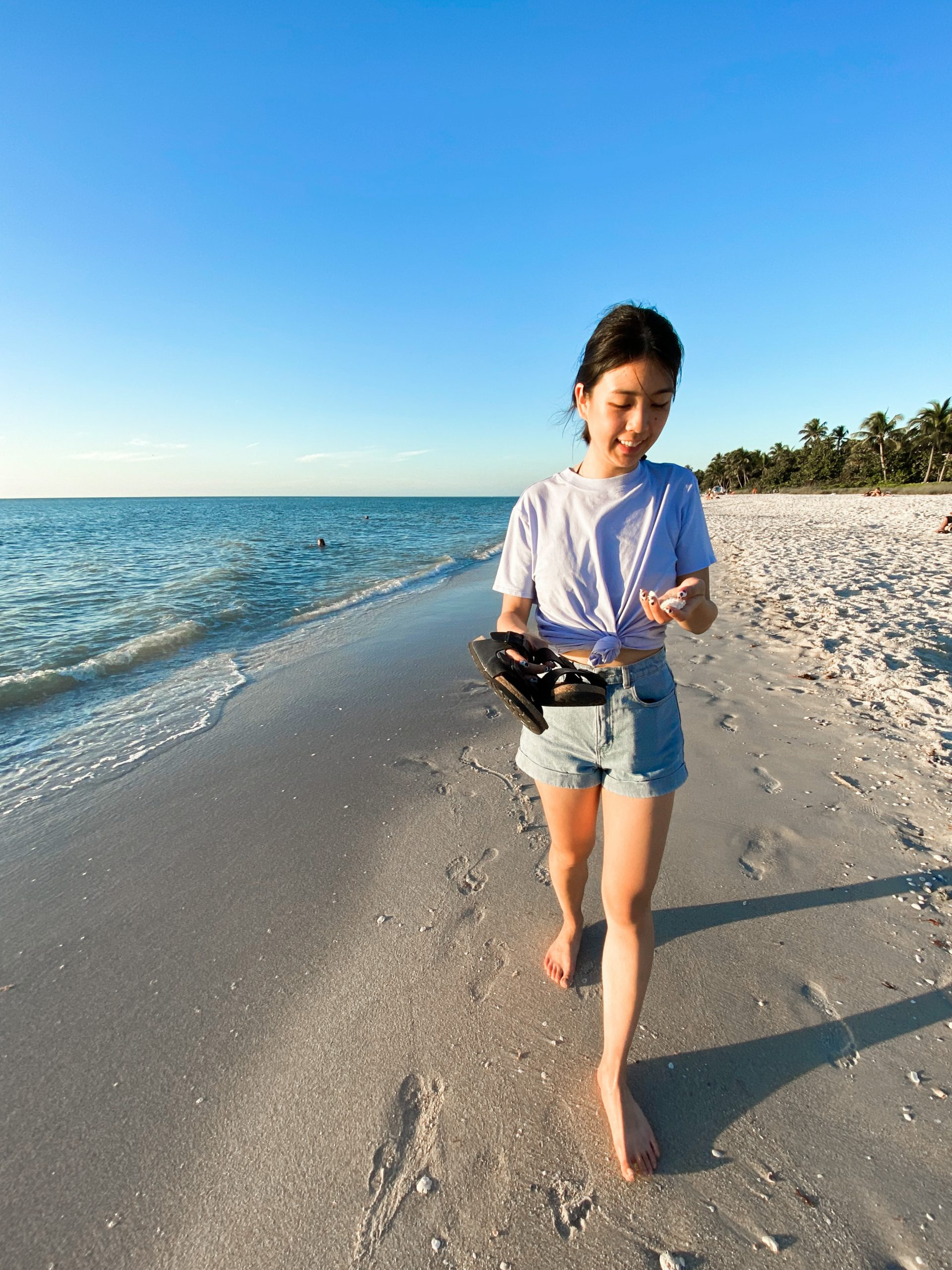 Collecting seashells along the Naples shoreline