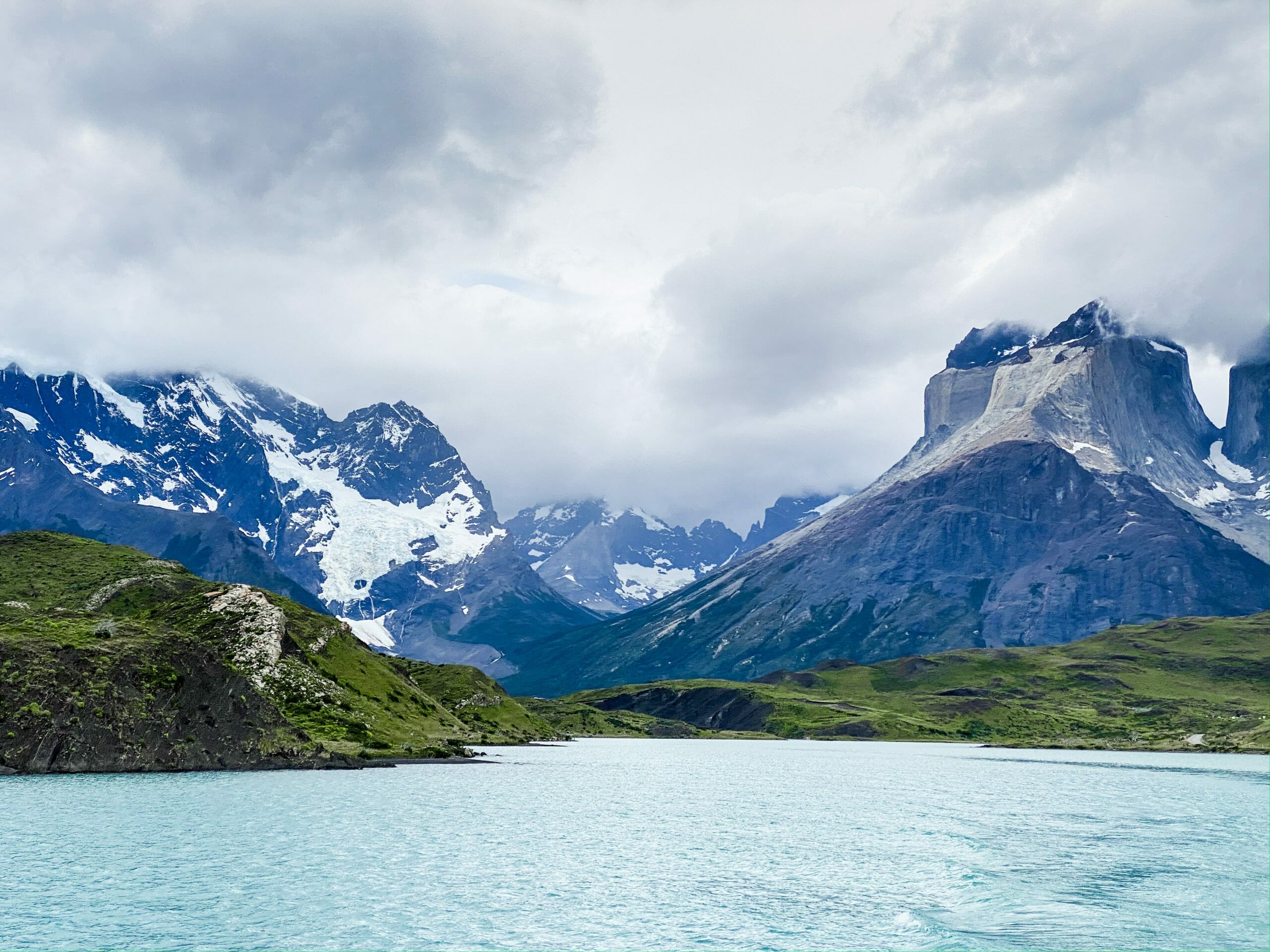 Ferry ride across Pehoe Lake from Pudeto to Paine Grande