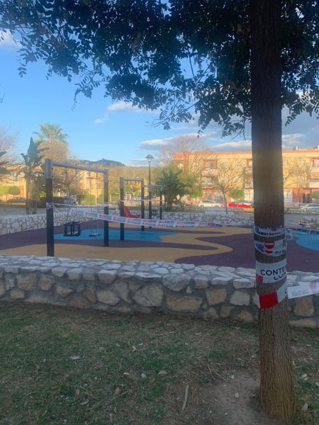 Parks in Spain taped off