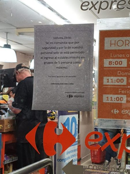 Sign at supermarket in Argentina